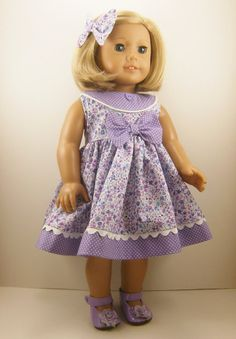 Fits American Girl and 18 Inch Dolls Clothes Lavender Flowers and Dots Sleeveless Dress with Matching Hair Bow