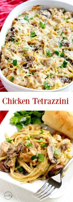Chicken tetrazzini is a classic, warm and comforting casserole that is perfect for a dinner party or a family meal - Italian casserole with chicken, mushrooms, creamy white wine sauce and parmesan cheese. Easy Casserole Recipes, Casserole Dishes, Breakfast Casserole, Casserole Ideas, Pasta Casserole, Healthy Diet Recipes, Cooking Recipes, Budget Recipes, Delicious Recipes