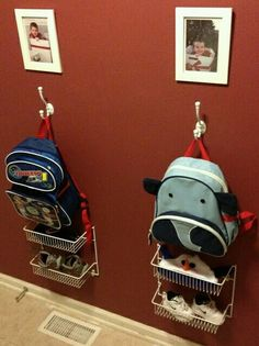 Kids items are all around the house. We have selected fantastic ideas to organize kids items for every room in the house and of course the car. Ideas Para Organizar, Kid Closet, Closet Ideas, Hall Closet, Closet Doors, Shoe Closet, Organization Hacks, Backpack Organization, Backpack Storage