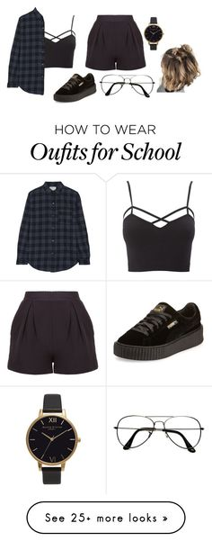 """""""What makes you think I'm gonna give it to you."""" by trademarkedstyles on Polyvore featuring Charlotte Russe, Current/Elliott, ZeroUV, Puma, Olivia Burton and plus size clothing"""
