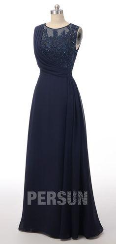 f7a117d6041 élégante robe de soirée bleu marine longue appliqué de guipure   paillettes