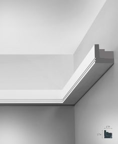 Sunrise crown molding for indirect lighting. Inspired by the the familiar double joint of this Sunrise molding has ultra-sober design. Dark Interiors, Rustic Interiors, Crown Molding Lights, Moulding, Ceiling Light Design, Ceiling Lights, Modern Lighting, Lighting Design, Interior Design Living Room