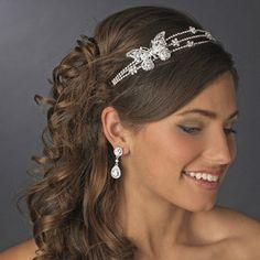 Rhinestone BUTTERFLY & Flowers Wedding Bridal TIARA Triple Band. Daisy Days