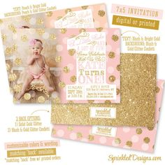 First Birthday Girl Invitation Photo Card - Blush Pink Gold Glitter Confetti Peach Mint Aqua - BIG ONE Bday - Printable Party Invite Glitter First Birthday, Baby Girl 1st Birthday, Gold Birthday, First Birthday Parties, First Birthdays, Birthday Ideas, 1st Birthday Invitations Girl, Minnie, Gold Glitter