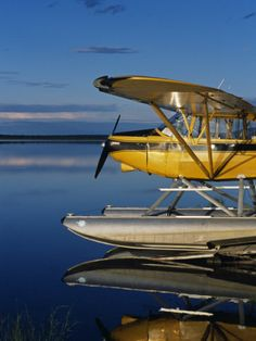 Alaska, Nondalton, Cessna Floatplane Parked on Still Waters of Six Mile Lake, Valhalla Lodge, USA Photographic Print