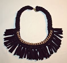 fringes+chain t-shirt yarn necklace
