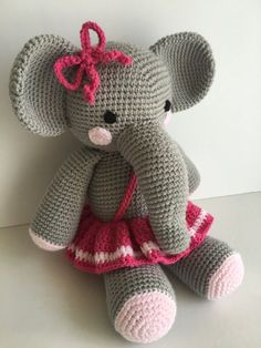 Crochet Amigurumi Elephant Pattern. This is an original pattern written by me. It is in English and using American terms. The finished product is 36 cm (14 inch) tall when you use 100 g/225 m acrylic yarn and 2,50 mm crochet hook.