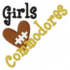 Girls Heart Commodores Football Machine Embroidery Design INSTANT DOWNLOAD on Etsy, $4.00
