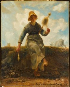 The Spinner, Goatherd of the Auvergne by Jean-Francois Millet