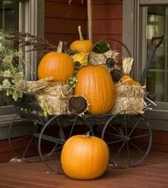 Porch decor with a wagon or cart states harvest has come and time to look a the beauty.  Love the dried large sunflowers!