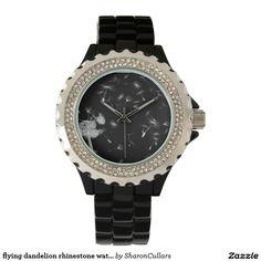 flying dandelion rhinestone watch