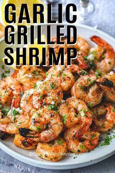 Garlic Grilled Shrimp - Spend With Pennies - #shrimpseasoning Grilled Shrimp Seasoning, Grilled Shrimp Kabobs, Easy Grilled Shrimp Recipes, Marinated Grilled Shrimp, Mexican Shrimp Recipes, Seafood Recipes, Garlic Shrimp Recipes, Grill Recipes, Steak And Shrimp Tacos Recipe