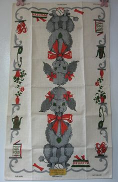 Poodle linen tea towel, original sticker.