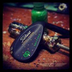 """February 28, 2014: """"Featured Wedge: TVD-M 58 Black Ox, BV Clover in green/white, $GATOR$ Freestyle stamped in Irish Green with gold,"""" said Vokey Wedges."""