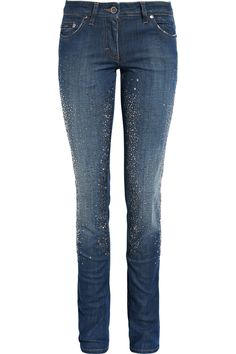 Crystal-embellished mid-rise skinny jeans by Roberto Cavalli