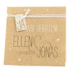 """Hochzeitseinladung """"Judy"""" - Hellbraune Einladungskarte im natürlichen Vintage-Look für Ihre Hochzeitsgäste Weddix http://www.amazon.de/dp/B00IG0WWF2/ref=cm_sw_r_pi_dp_tTuxub151Q5CP"""