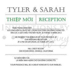 Printable Bilingual Vietnamese Wedding Invitation Set Reception And Rsvp Sarah Green Modern