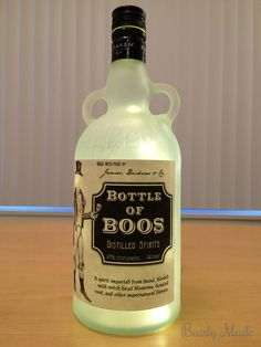 """This post is about a """"Bottle of Boos"""" I created for Halloween. This post covers how to drill the hole, frost the glass, and install the lights. Potion Bottle, Vodka Bottle, Bottle Lights, Halloween Crafts, Bottles, Spirit, Diy, Bricolage, Do It Yourself"""