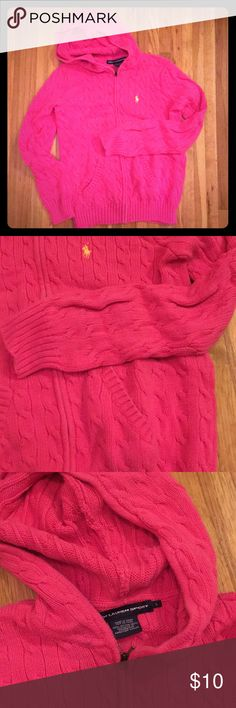 Ralph Lauren hoodie Hot pink cable knit hoodie with pockets Shirts & Tops Sweatshirts & Hoodies