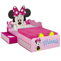 Disney Minnie Mouse Toddler Bed with Underbed Storage By Hellohome Toddler Bed With Storage, Under Bed Storage, Kids Storage, Minnie Mouse Bedding, Minnie Mouse Toys, Toddler Bedroom Sets, Kids Bedroom, Bed With Underbed, Little Girl Rooms