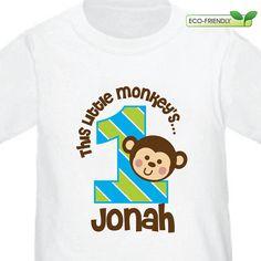 Personalized 1st Birthday Boy Monkey Birthday Shirt or Monkey Bodysuit -- Customized with child's  age. $16.50, via Etsy.