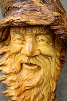 Wood carving, Elf, Wizard, tree spirit, wood spirit, gift for Dad, Fathers day gift, carved by Gary Burns the treewiz, handmade, woodworking. $115.00, via Etsy.