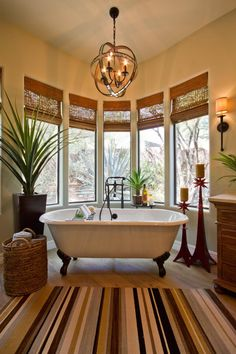Sultry Southwestern Bathroom With White Clawfoot Tub