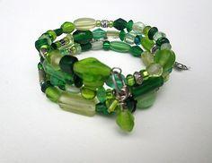EMERALD ISLE Memory Wire Bracelet Green Beaded Wrap Stack Bracelet Memory Wire Jewelry Charms Handmade Maine Jewelry By Garnishments