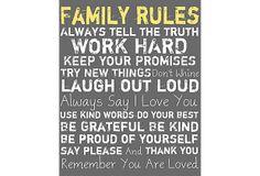 Family Rules Giclee on Canvas Grey on OneKingsLane.com