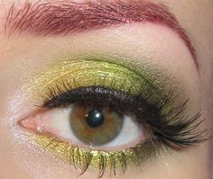 Glitter is my crack...: Gold, Yellow, Lime and Green Eye Makeup Look