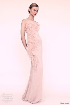 Blush Pink and Grey Wedding dresses   White column gown with tiered sleeves and bead encrusted epaulette.