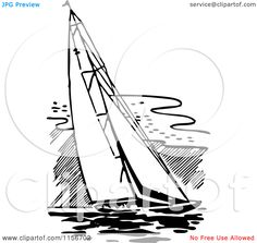 Clipart of a Black and White Retro Sailing Boat - Royalty Free . Free Vector Clipart, Royalty Free Clipart, Boat Vector, Boat Illustration, Clip Art Pictures, Free Cartoons, Sailing Boat, Cartoon Styles, Embroidery Patterns