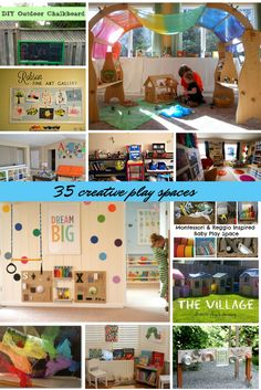 35 posts on playrooms and play spaces, both indoor and outdoor, reading nooks and tips of toy organisation too! There are also some great posts on how to get started with Montessori at home, and to adapt your living space to that if it's something you would like to try.amazing and creative playrooms and playspaces