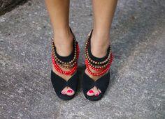 DIY (Burberry imitation) tribal heels (from http://apairandasparediy.com/2011/07/diy-burberry-tribal-high-heels.html) - Ethical using fairly made or vintage shoes