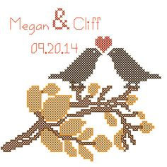 Fall Autumn Wedding Cross Stitch Pattern Love Birds Personalized with Names & Date Browns and Oranges. $6.95, via Etsy.
