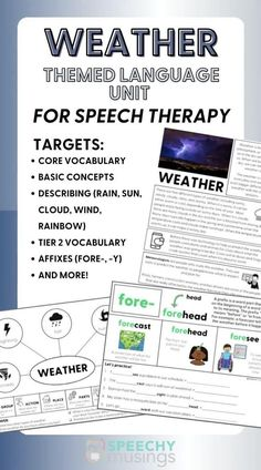 If you are looking for a fun and unique way to get your speech therapy students engaged in your speech or language therapy lessons, try out this weather themed language therapy unit! This themed language therapy unit includes a wide variety of materials and resources for your students with language goals using a relatable and engaging WEATHER theme! this resource targets core vocabulary, basic concepts, describing, affixes, and more! Receptive Language, Speech And Language, Speech Therapy Activities, Language Activities, Figurative Language Activity, Group Action, Vocabulary, Core, Students