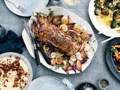 Pork Loin Roast with Caramelized Onions and White Wine–Dijon Sauce Recipe - Alex Guarnaschelli Sauce Recipes, Pork Recipes, Wine Recipes, Cooking Recipes, Pork Ham, Pork Loin, Pork Roast, Roasted Onions, Gourmet