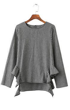 Trendy-Road-Style-Shop-Online-Woman-Fashion-Street-Shirt-Blouse-Plaid-Black-and-White-Irregular-Ruffles-Long-Sleeve