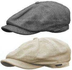 STETSON LINEN COTTON BLENDED GATSBY Cap Men Newsboy Ivy Hat Golf Driving Cabbie