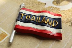 Fridge Magnet, Hand Painted, 7 x 5.5 cm, Thailand's Flag