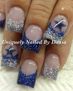 If these were packers nails life would be perfect! Dallas Cowboys Nail Designs, Dallas Cowboys Nails, Nail Polish Art, Gel Nail Art, Acrylic Nails, Fingernail Designs, Toe Nail Designs, Fancy Nails, Love Nails