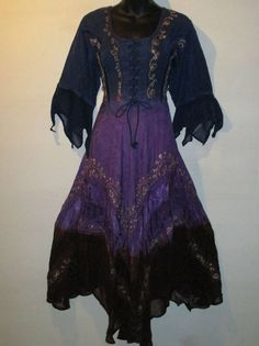 Dress Fits L XL 1X Blue Purple Brown Corset Lace Up Embroidery Short Sleeve 03K #FL #EmpireWaist #Casual