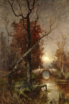 laclefdescoeurs: Autumn in the Park, Yuli Yulievich Klever Russian Landscape, Landscape Art, Landscape Paintings, Russian Painting, Autumn Painting, Great Paintings, Tree Art, Oeuvre D'art, Les Oeuvres