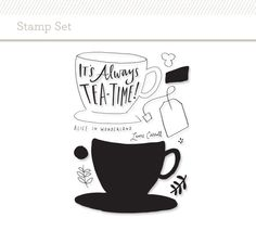 Picture 1 of Stamp Set: Tea Time by Emily McDowell Studio Calico Studio Calico, Tea Quotes, Planner Organization, Organizing, Diy Scrapbook, Scrapbooking Ideas, Writing Inspiration, Design Inspiration, Photoshop Elements
