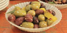 A tasty side bursting with warm flavours. Cheese Appetizers, Yummy Appetizers, Appetizer Recipes, Lynn Crawford, Olive Recipes, Food Network Canada, Ree Drummond, Olives