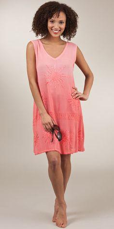 Crinkle Cotton-Rich Beach Sundress Cover-Up by Raya Sun - Coral Sun