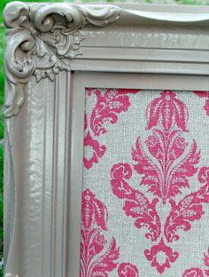 Decorative Pink Damask VIntage Framed Cork Board 285 by cdmdesign, $75.00 For my office!