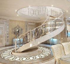 Beautiful #WhiteandGold Luxury Interior Design with Amazing #SpiralStaircase - Bigger Luxury