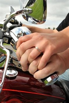 Photo ideas for engagement pictures, save the date pictures, and even just wedding pictures. Great for a Biker Chic wedding