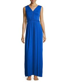 T9WEC Neiman Marcus Braided Sleeveless Maxi Dress, Intense Cobalt